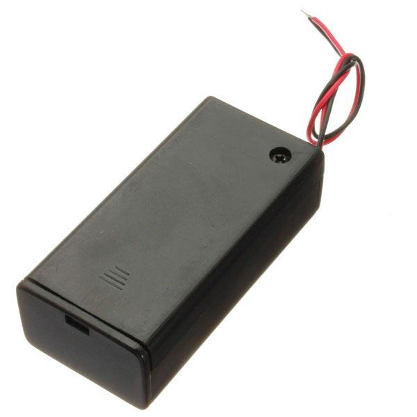 9V Battery Box Pack Holder With ON/OFF Power Switch Toggle Black