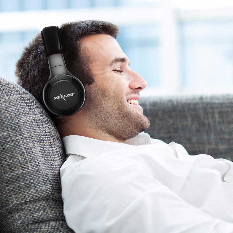 B19 HiFi Wireless Bluetooth Headphone LED Display Noise Cancelling TF Card Stereo Earphone Headset - Black