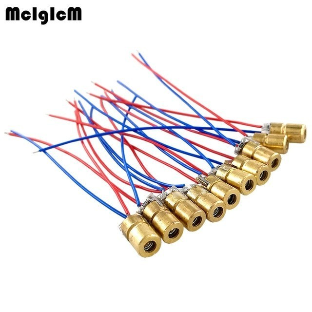 laser diode 10pcs 650nm 6mm 5V 5mW Adjustable Laser Module Red Copper Head 3v