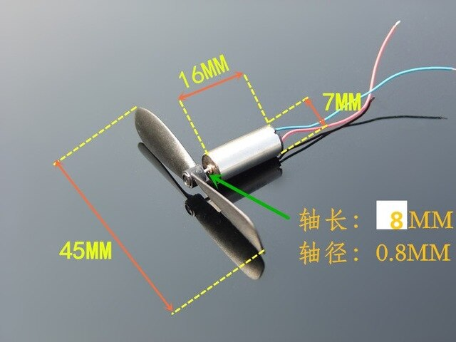 2pcs DC3.7-4.2V Micro High Speed DC Motor for Helicopter Coreless With Propeller