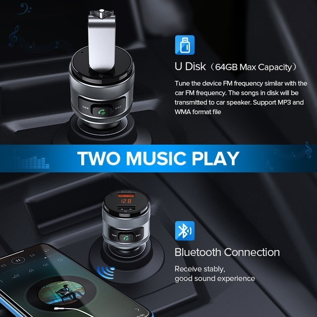 Bluetooth Car FM Transmitter with Quick Charge 3.0, Wireless Hands Free Car, Dual USB Cell Phone Vehicle Charger, Support USB Flash Drive