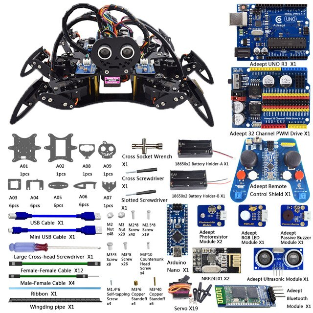 Hexapod 6 Legs Spider Robot Kit for Arduino UNO R3