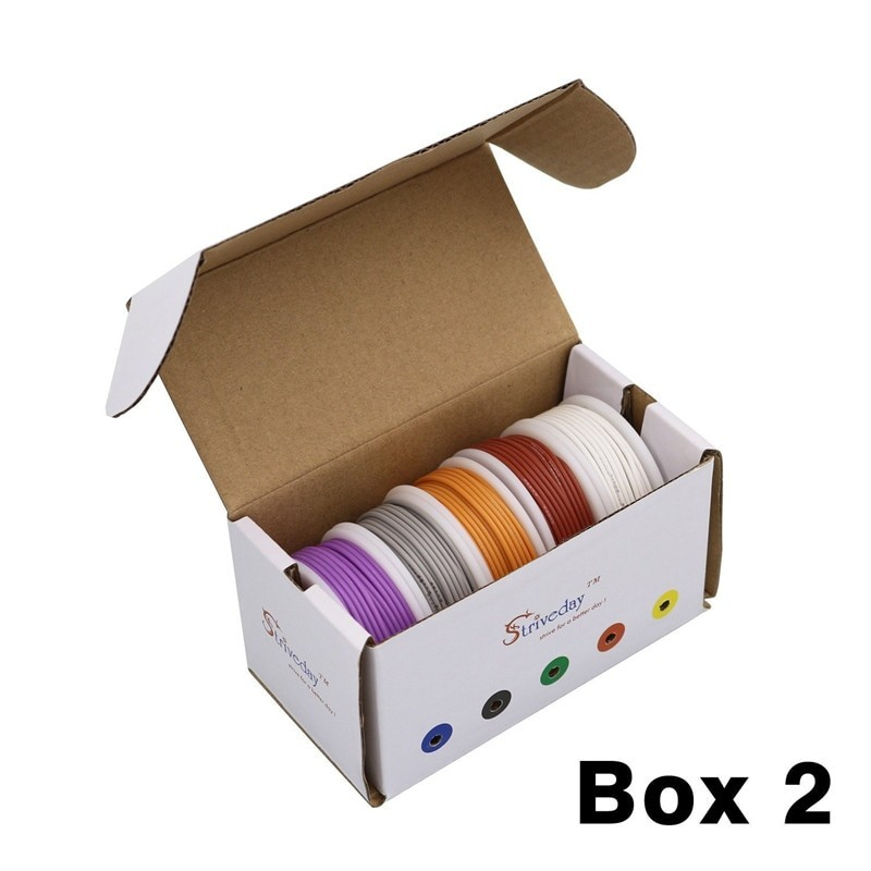 AWG flexible silicone cable mixing 10 color box 1 + box 2 package wire tinned copper electronic wire DIY