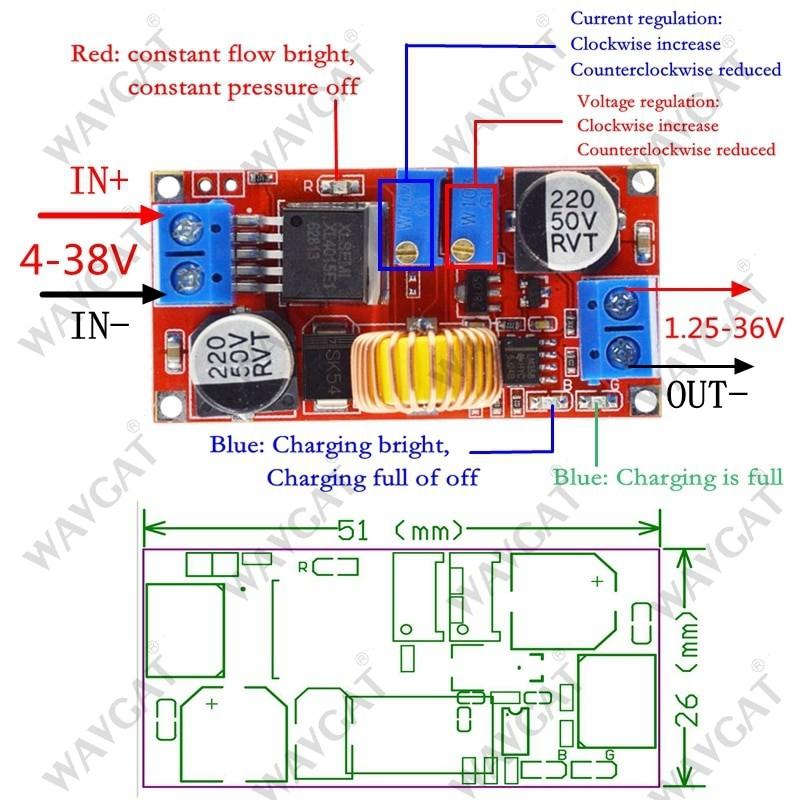 Wavgat 5A DC to DC CC CV Lithium Battery Step Down Charging Board