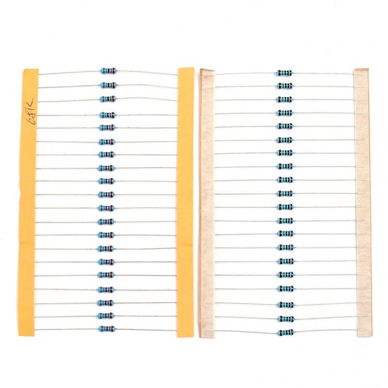 1000 Pcs 50Values 1/4W Power Metal Film Resistors