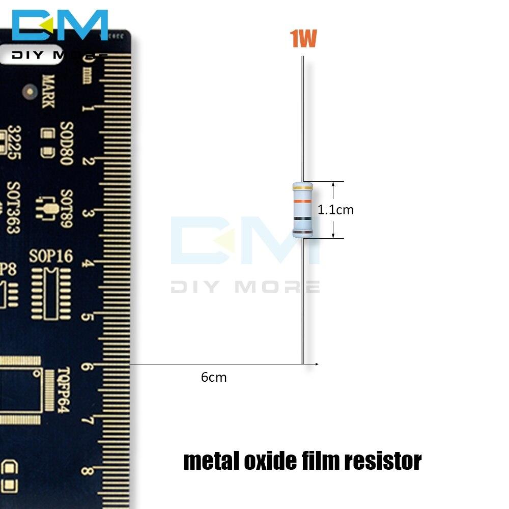 100PCS Metal Oxide Film Resistor 5% 1W 1R-1M