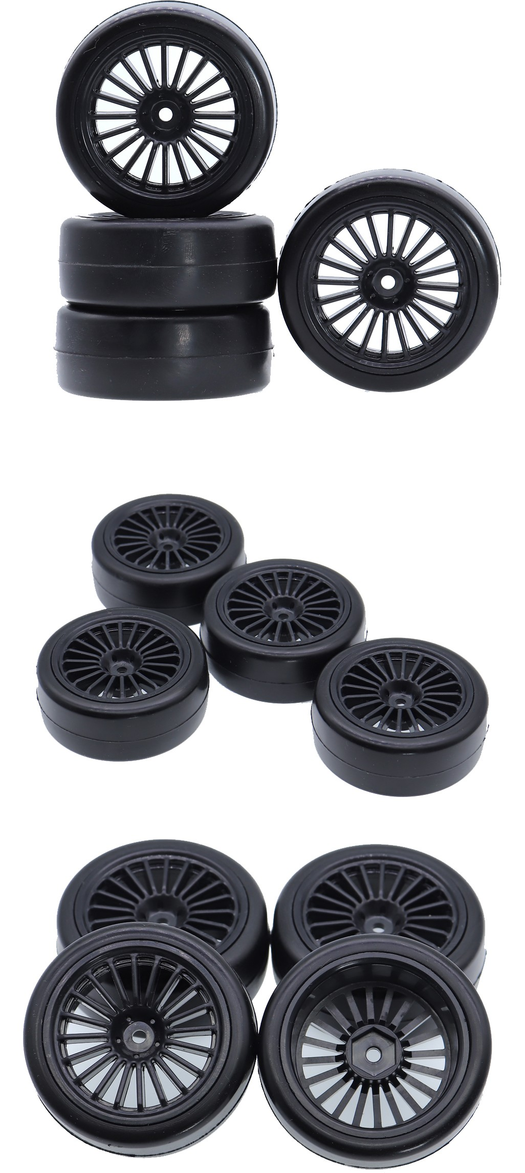 4Pcs On Road Wheel Hub Soft Rubber Tires
