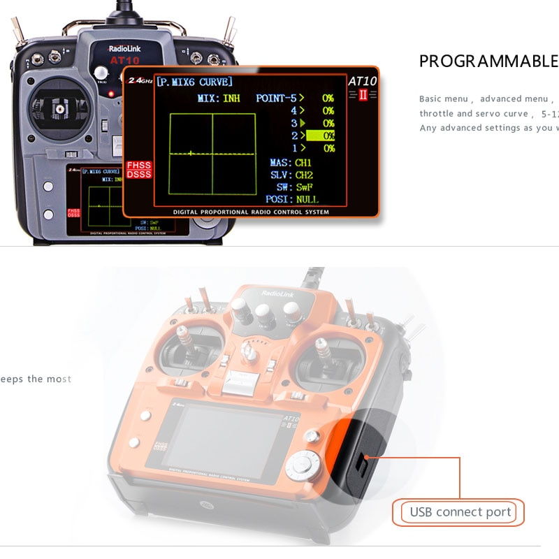 RadioLink AT10 II 2.4Ghz 12CH Radio Transmitter with R12DS Receiver for Quadcopter