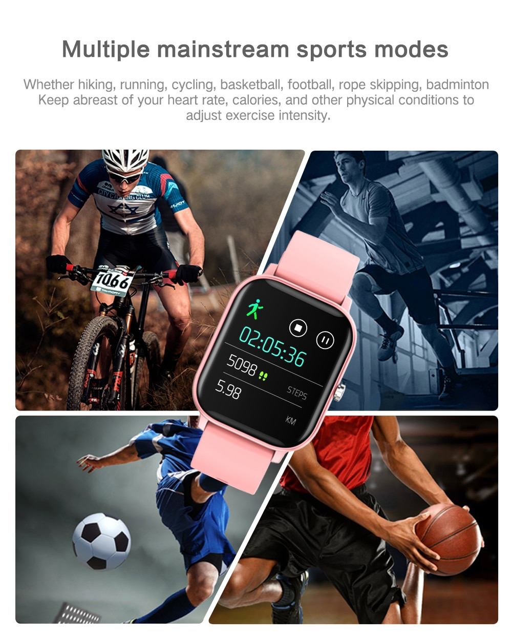 1.4 inch Smart Watch Full Touch Fitness Tracker Blood Pressure
