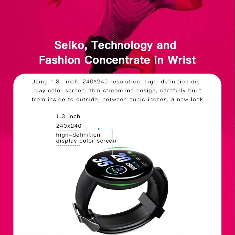 D18 Plus Bluetooth Blood Pressure & Sport Tracker Pedometer Smart Watch