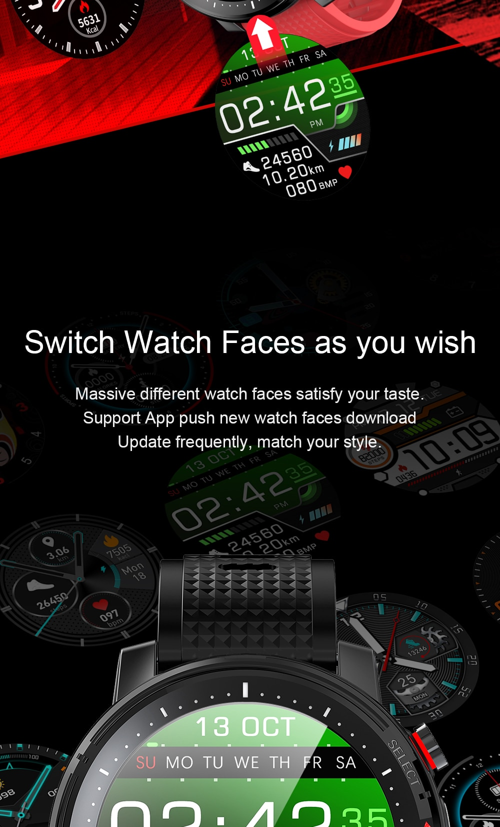 Full touch Waterproof Heart Rate Monitor Smart Watch