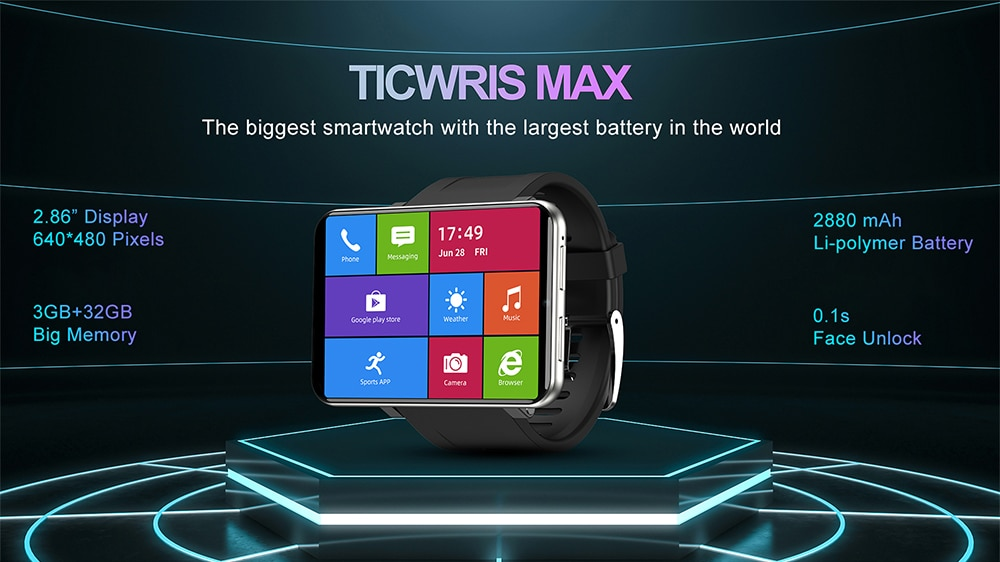 Ticwris Max 2.86 Inch HD Display 4G Android Smart Watch