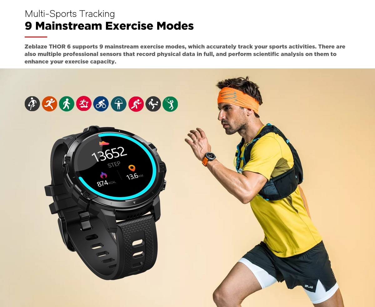 Zeblaze THOR 6 Octa Core 4GB+64GB Android10 Smart Watch