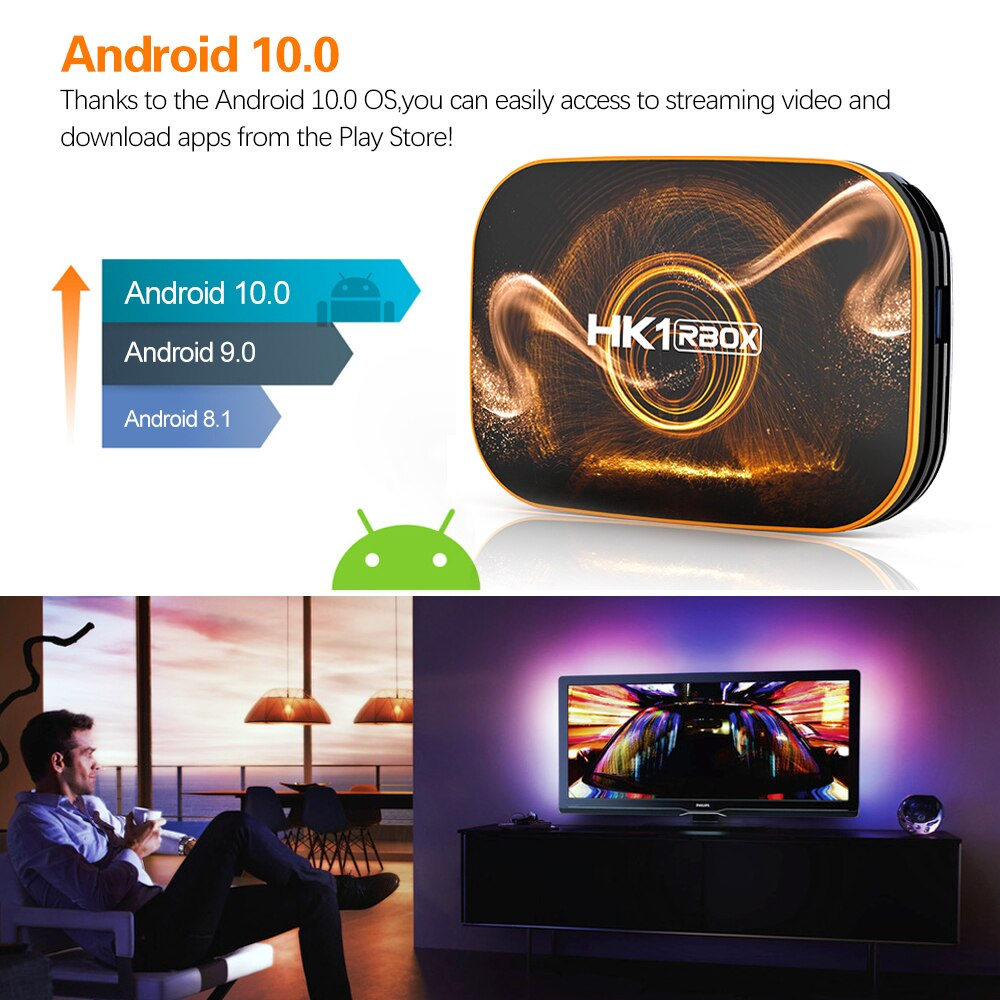 HK1 RBOX R1 RK3318 Smart TV Box Android 10 Quad Core UHD 4K Media Player