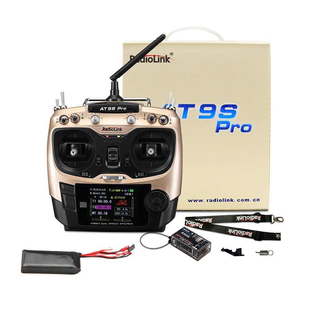 RadioLink AT9S PRO 2.4G 12CH DSSS FHSS Mode2 Transmitter with R9DS Receiver 3S