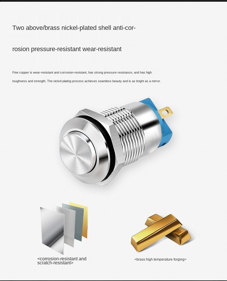 12mm Waterproof Momentary Reset Metal Switch Button with LED Light