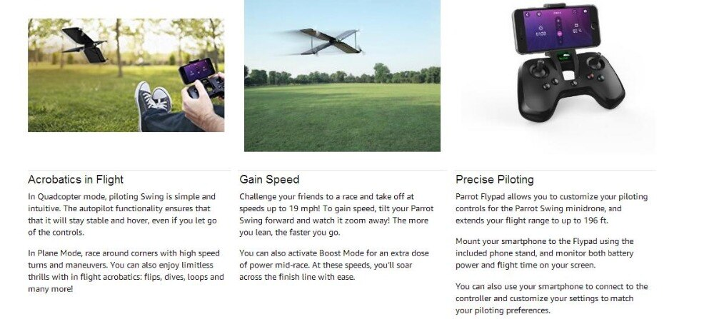 Parrot Swing Smart Quadrocopter FPV Drone with Flypad Controller