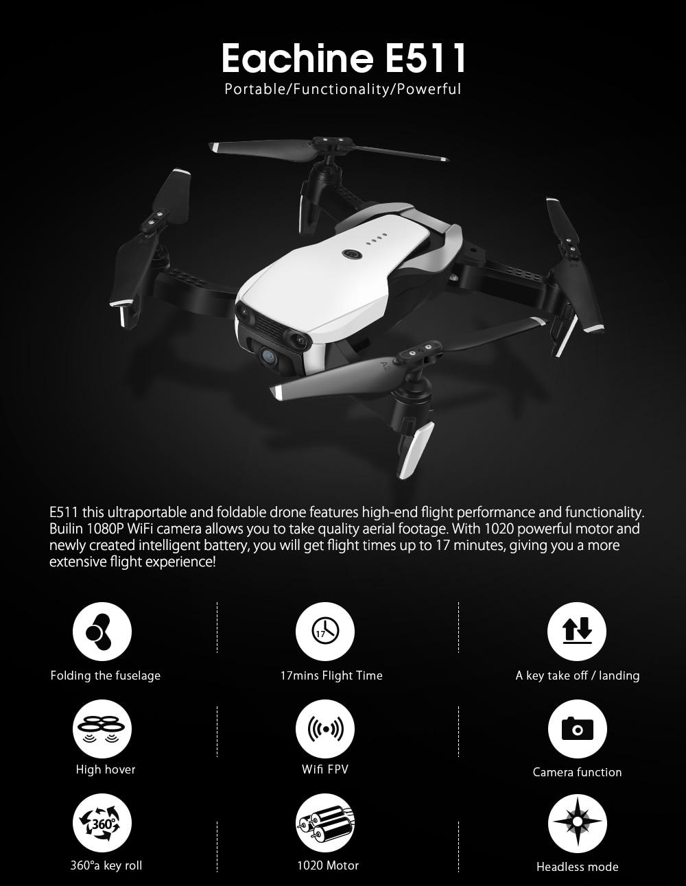 Eachine E511S RC Drone Quadcopter FPV With 1080P / 720P HD Camera