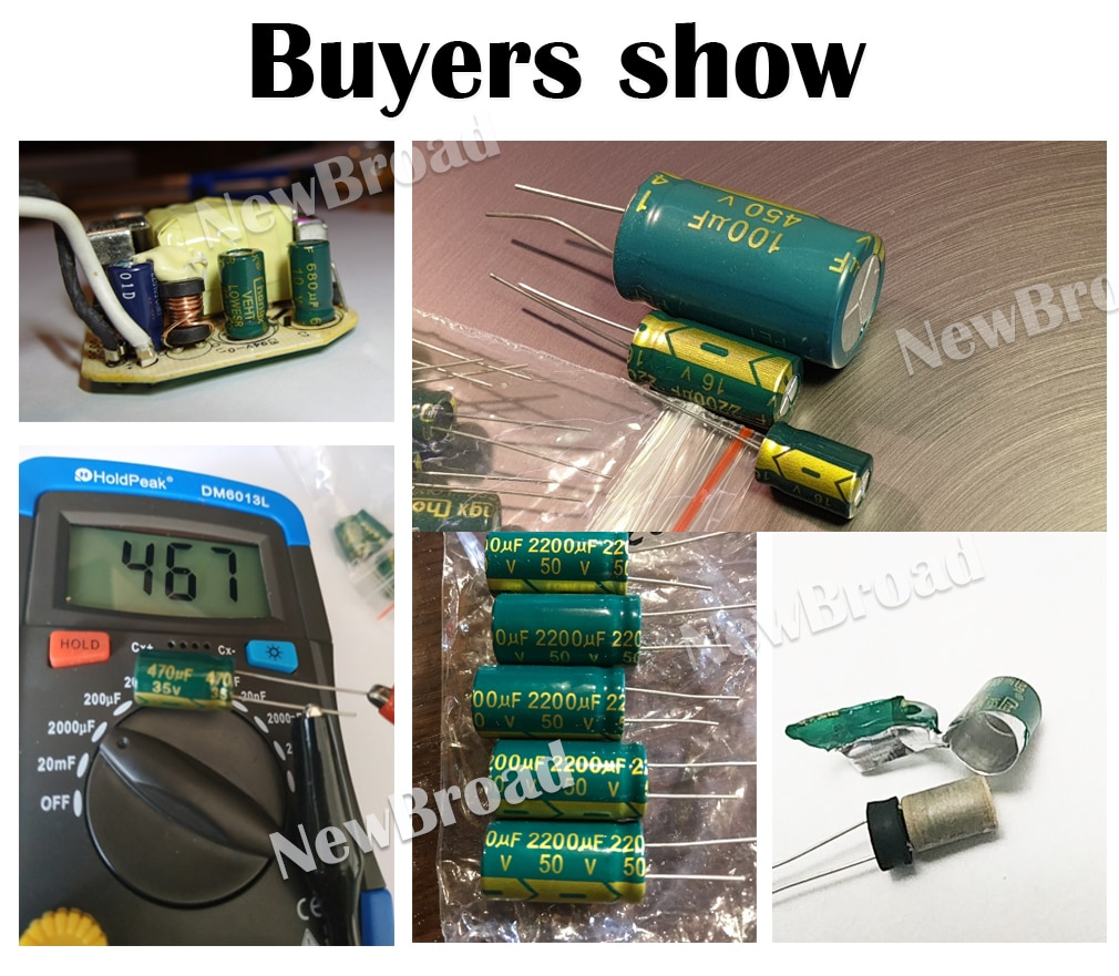 100pcs High Frequency Aluminum Capacitors from 10V to 400V and from 100UF to 3300UF