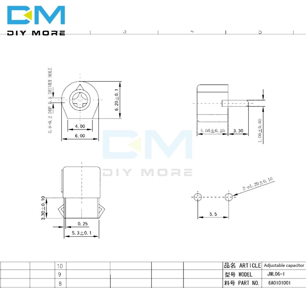 10PCS 6mm Trimmer Variable Ceramic Adjustable Capacitors
