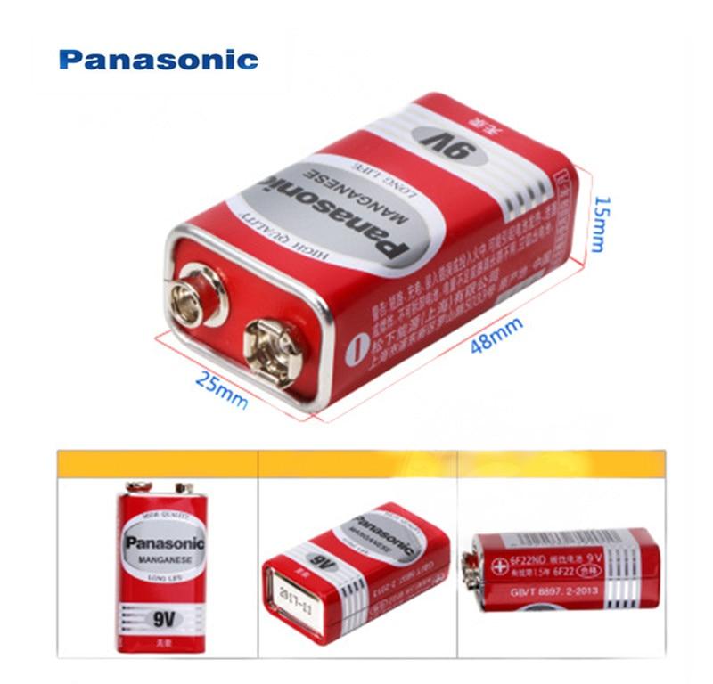 2pcs Panasonic 9V Zinc Carbon Cell Battery PP3 6F22 6LR61 MN1604