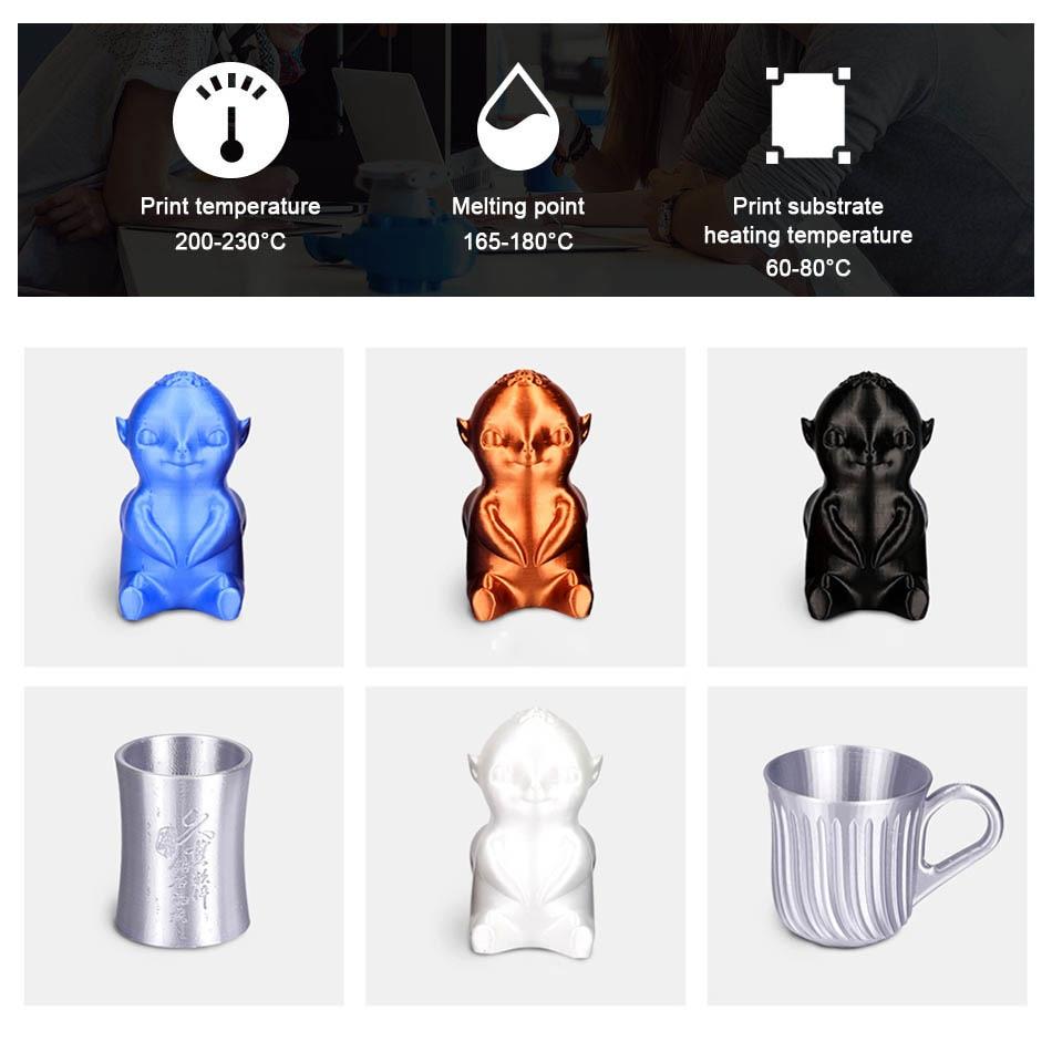 1.75mm 1kg 3D Printer PLA Filament Silk Texture 3D Printing