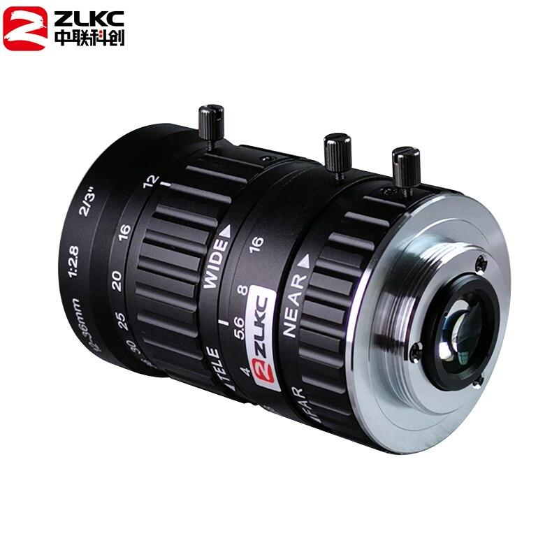 "Zoom 12-36mm 5 Megapixel HD Lens F2.8 2/3"" Aperture C-Mount Low Distortion Machine Vision Lens Industrial Camera lens"