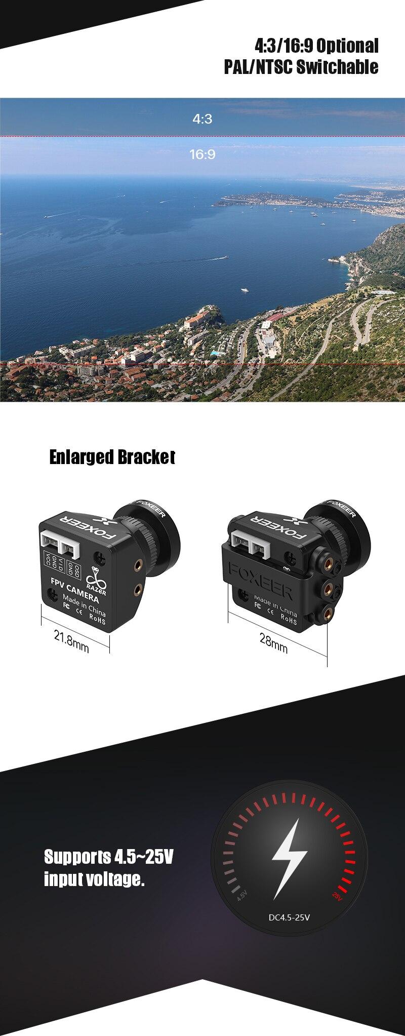 Foxeer Small HD 5MP 2.1mm FPV Racing Drone Camera PAL NTSC