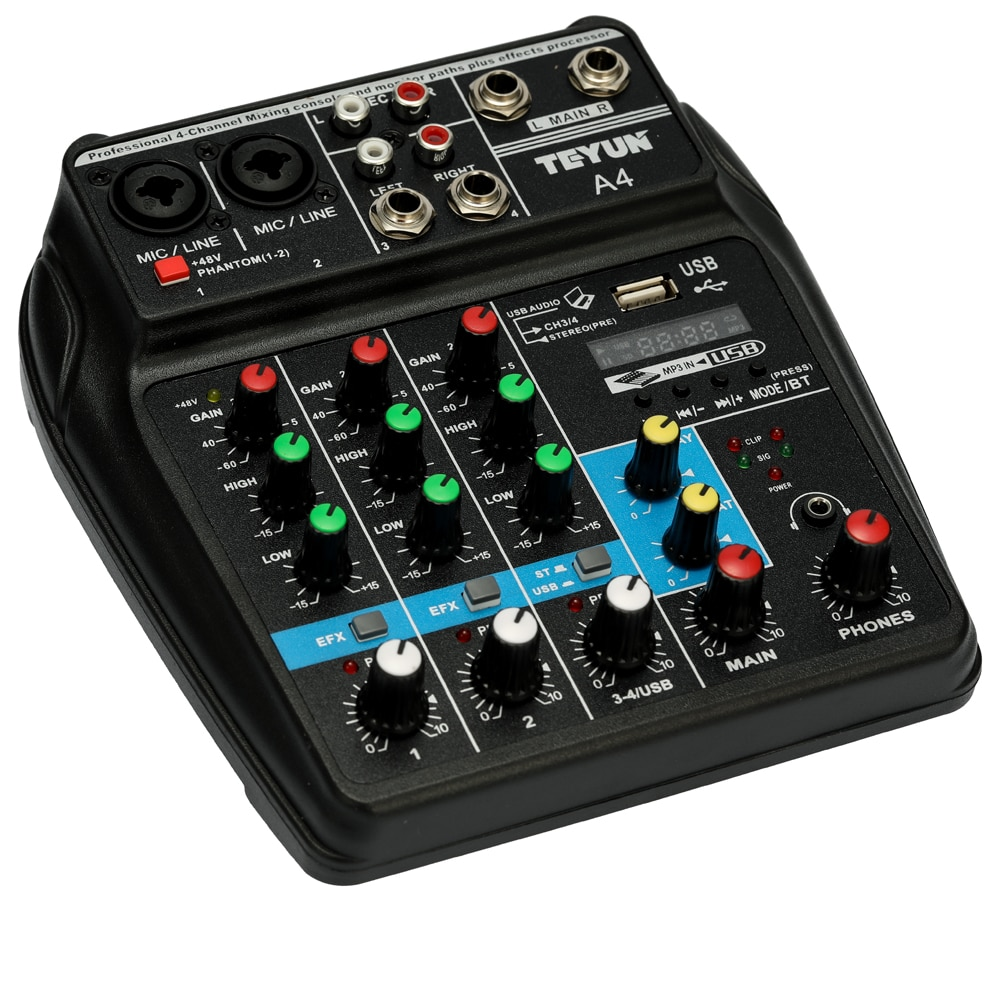 TU04 Professional Audio Mixer 4 Channels Sound Mixing Console Record 48V Phantom Power Monitor AUX Paths Plus Effects with USB